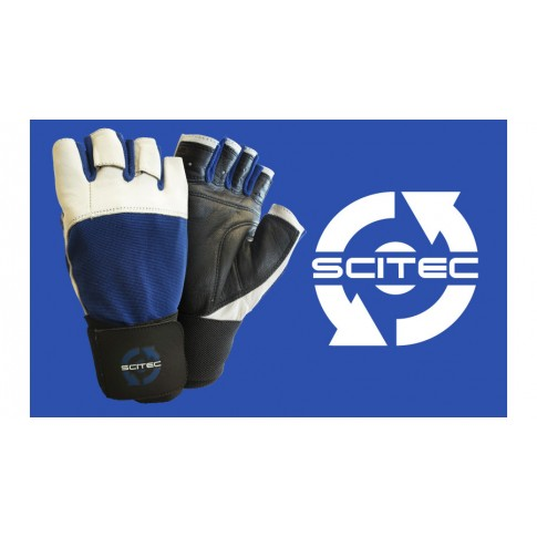 Gloves Power Blue With Wrist Wrap kesztyű - Scitec